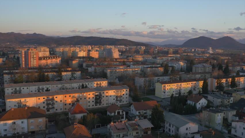 Aerial big city apartments in concrete blocks stock for Big city apartments