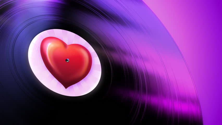 Love Tune (Loop). Gramophone record playing love melody in seamless loop.
