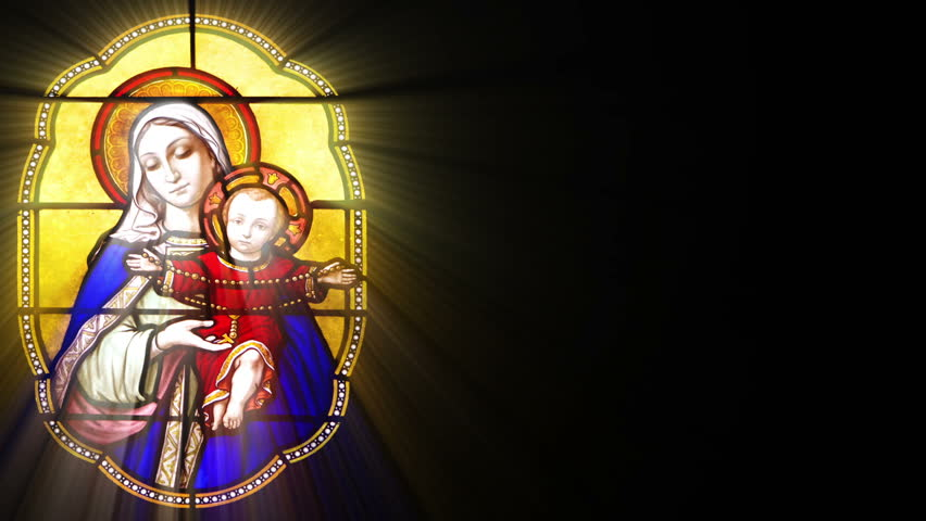 Stained Glass with Mary and Jesus (Seamless Loop)