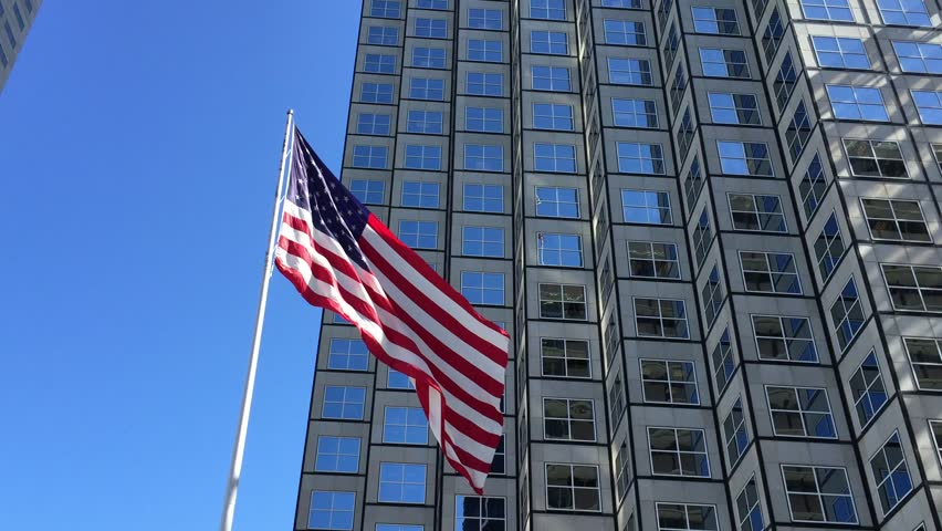 American waving flag in a beautiful day - HD stock footage clip