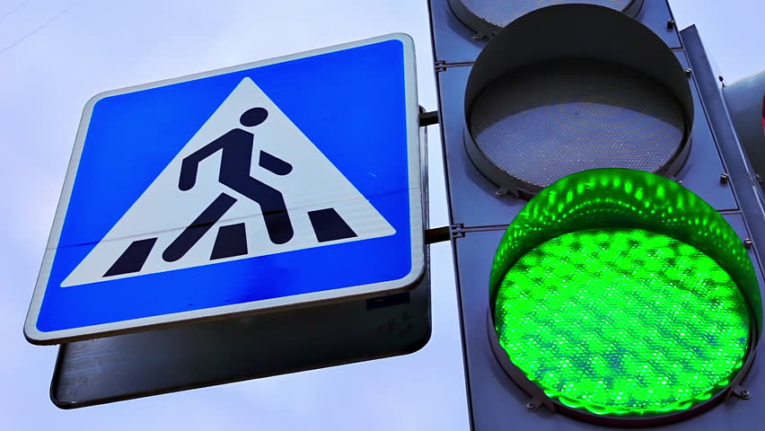 Traffic Lights With Pedestrian Crossing Sign Red Yellow