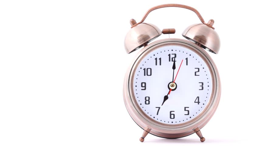 Ringing classical alarm clock on white, front view  | Shutterstock HD Video #1008157