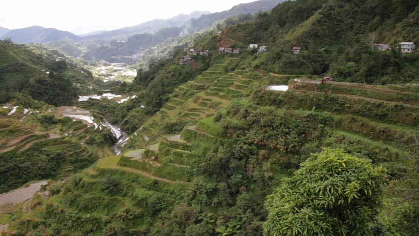 Rice terraces on slopes of mountains, Philippines, Banaue (panorama).
