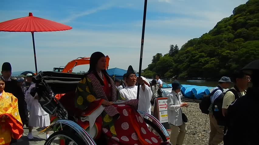 KYOTO, JAPAN - MAY 17: Mifune Festival at May 17, 2015 in Kyoto, Japan. This is one of the biggest Shinto festival in kyoto's Arashiyama district.