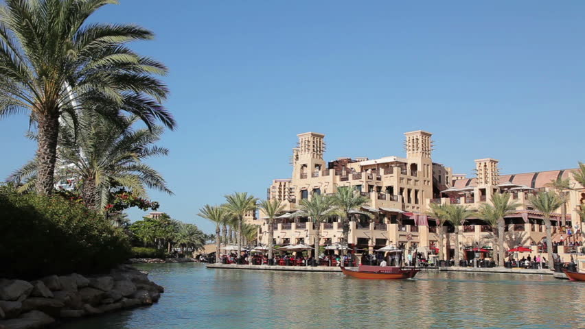 Moving through the water channels of Al Qasr Madinat Jumeirah. Dubai