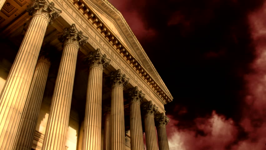 Fireworks explode over classical building - HD stock footage clip