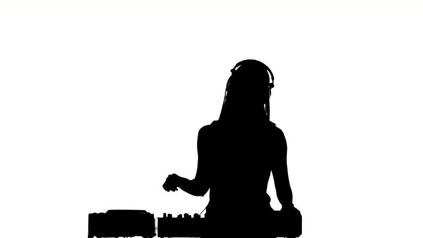 Sexy, Young Blonde Dj Girl Listening To Music Flipping ...