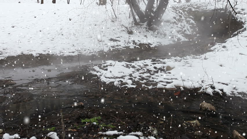 Winter scene. Hot pond. Heavy snow.  - HD stock footage clip