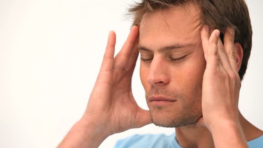 Handsome man with a big headache - HD stock footage clip