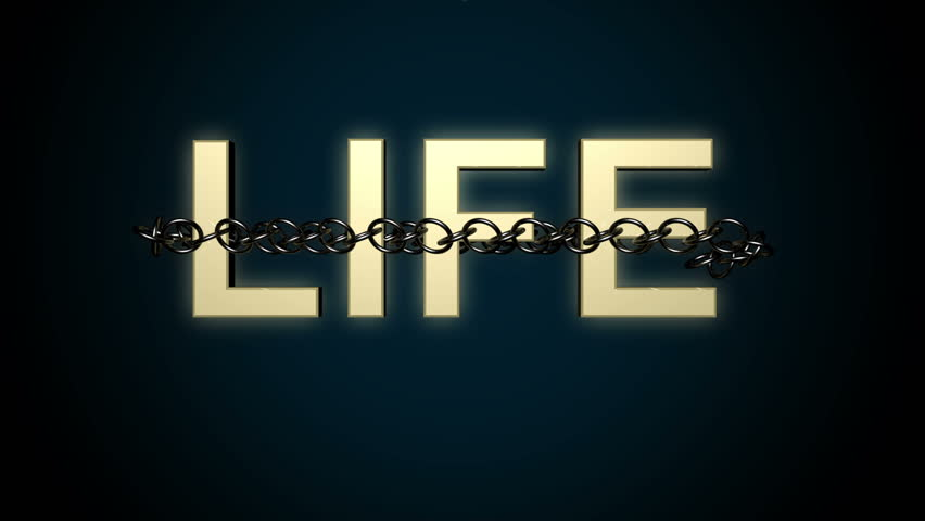 Animated concept of Life text breaking free from metal chains