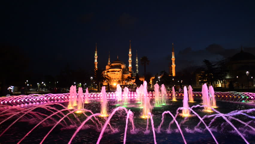 Fountain dance show in front of Blue mosque at Istanbul, Turkey. The biggest mosque in Istanbul of Sultan Ahmed (Ottoman Empire) - HD stock video clip