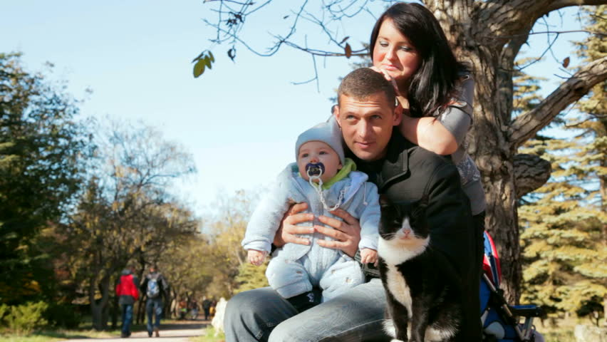 family with toddler looking at the cat on a bench in autumn park - HD stock video clip