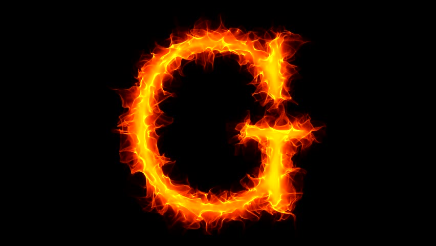 Letter G on fire - HD stock video clip