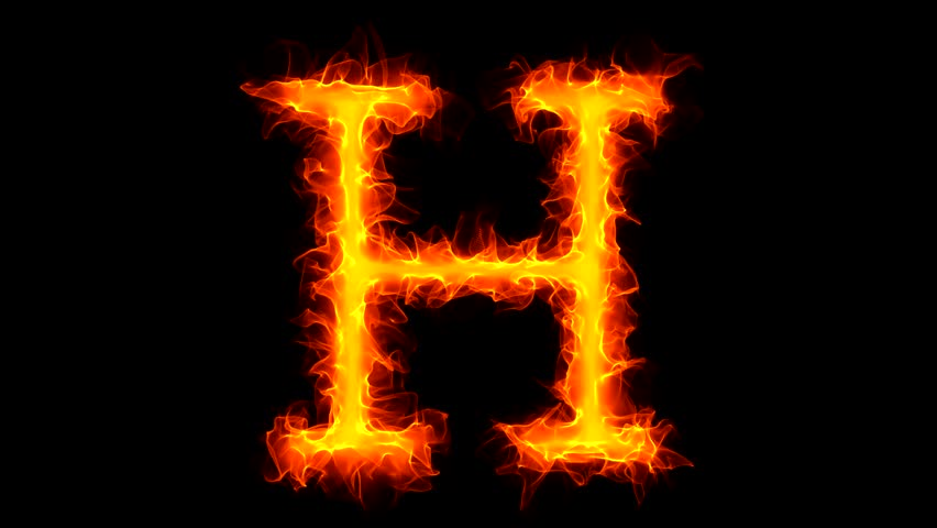 Letter H on fire - HD stock footage clip