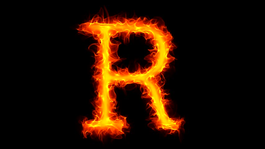 Letter R on fire - HD stock footage clip