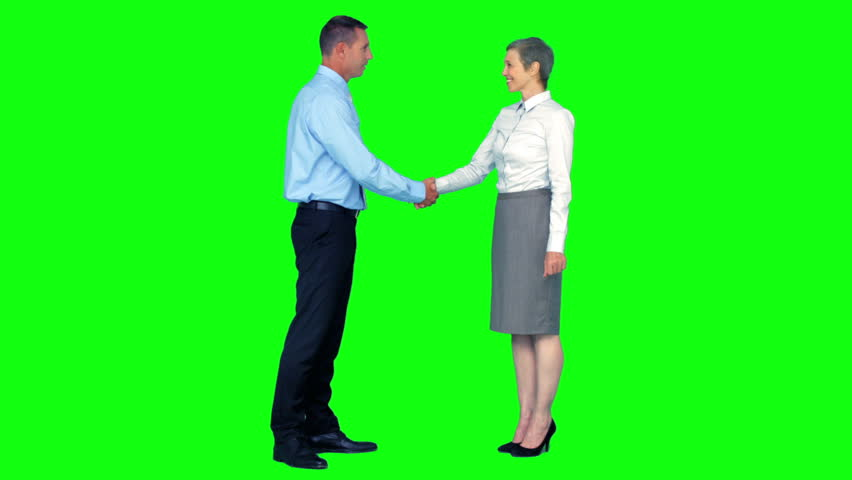 Business people shaking hands on green screen background - HD stock footage clip