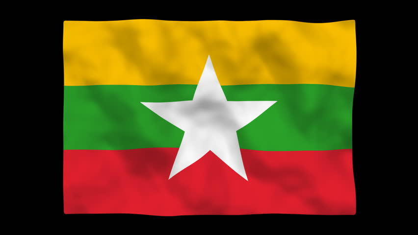 National Flag. MMR, Myanmar. - HD stock video clip