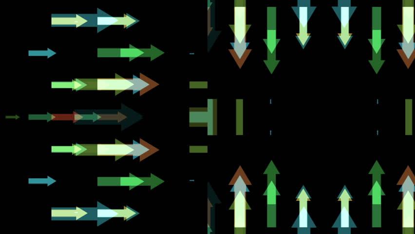 Multicolored arrows kaleidoscope on black background - HD stock footage clip