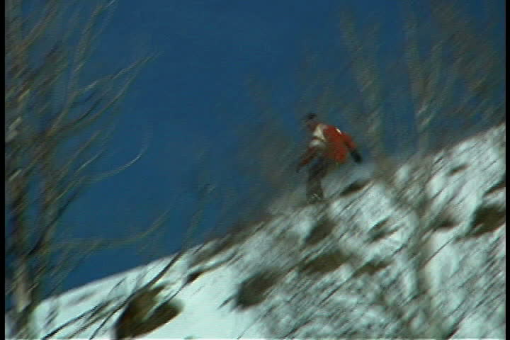 Snowboarder - SD stock footage clip