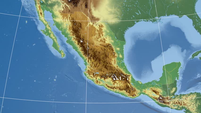 Queretaro State Extruded On The Physical Map Of Mexico Rivers And – Map of Mexico Rivers