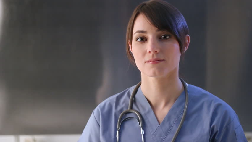 Healthcare worker. Portrait of female nurse. Room for text.