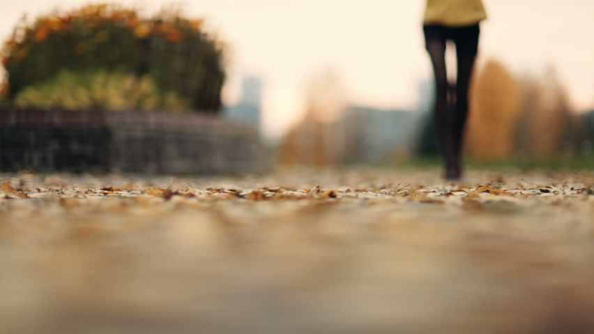 Young woman in brown shoes and stockings walking on yellow autumn leaves in the park. Feet closeup.