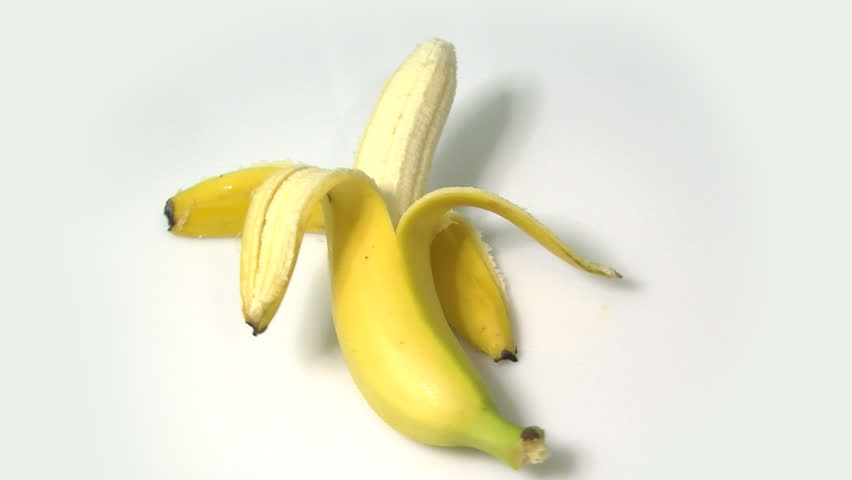 rotating peeled banana - HD stock video clip