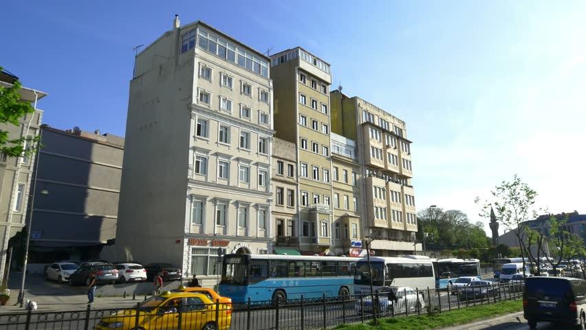 ISTANBUL - MAY 4, 2015: Tarlabasi Boulevard, Kamerhatun District in Istanbul, Turkey