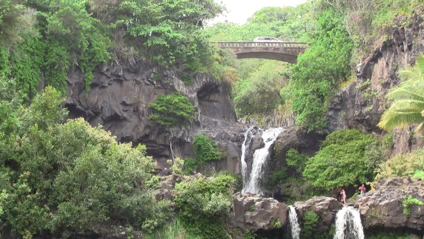 Seven Sacred Pools in Maui Hawaii - HD stock video clip