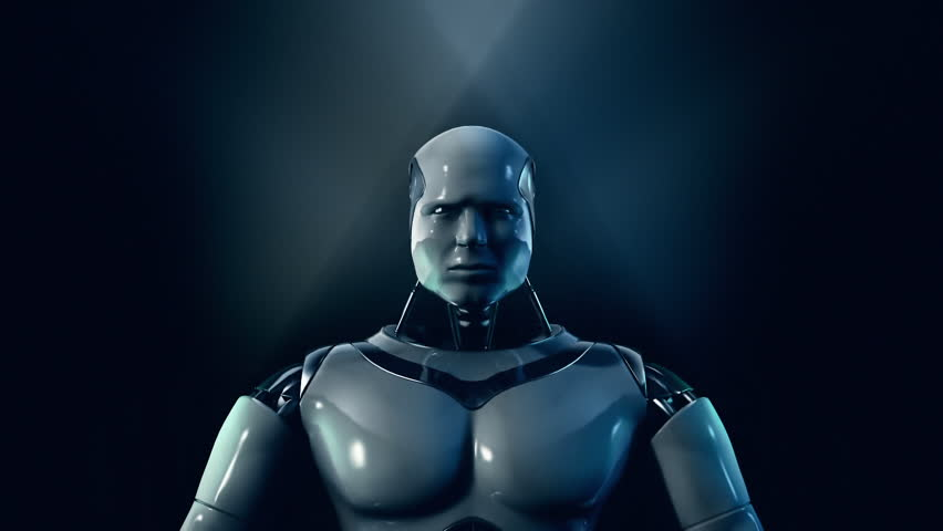 """Android says """"I am the robot"""". Zoom through eye to cyberspace brain."""