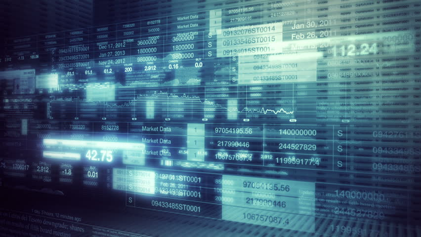 Stock Market Tickers Smooth Camera Pan
