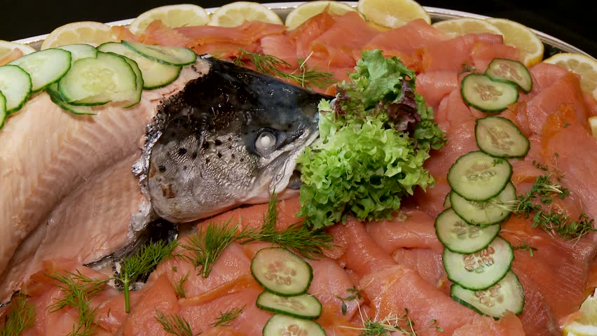 video footage of a nice decorated salmon in a restaurant