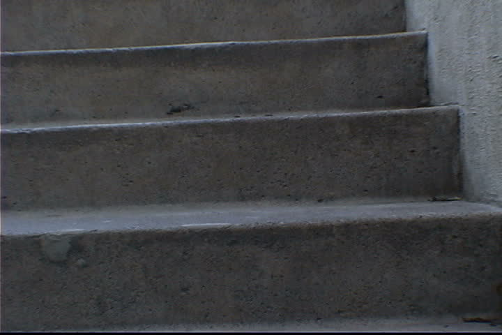 Running Up Steps - SD stock footage clip