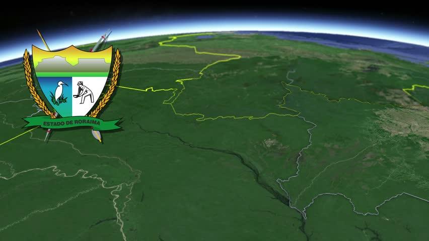 Roraima white Coat of arms animation map States of Brazil Roraima white Coat of arms animation map