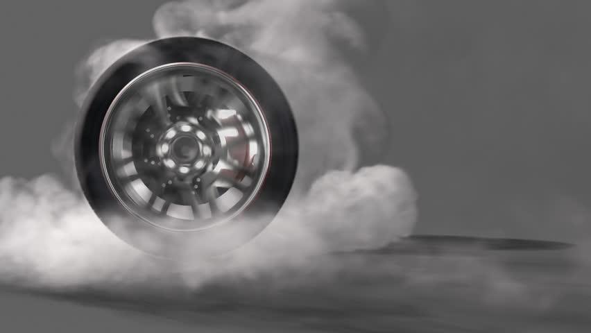Extreme Tire Burnout On Asphalt, Lots Of Smoke & Heat ...