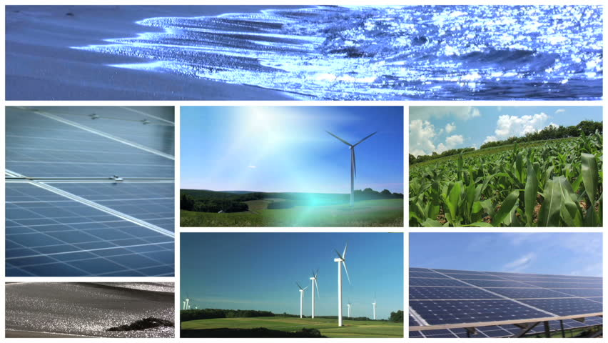 A montage of alternative energy and green power supply resources.