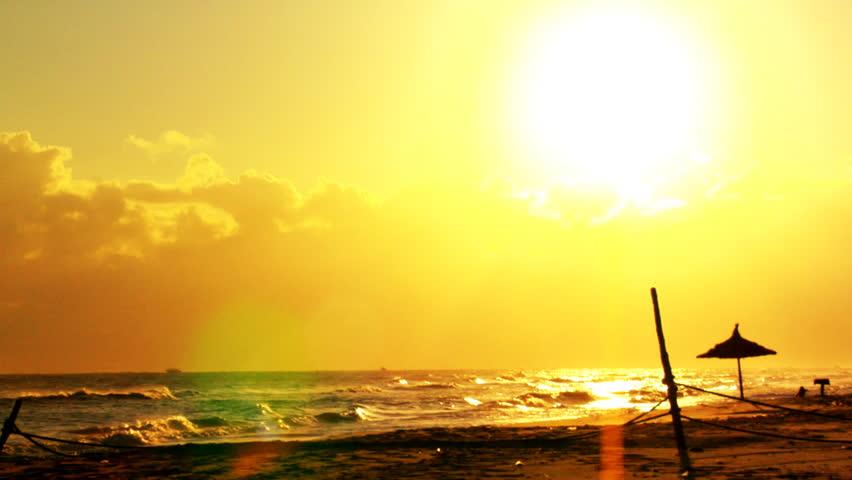 Sun over Sea - HD stock footage clip