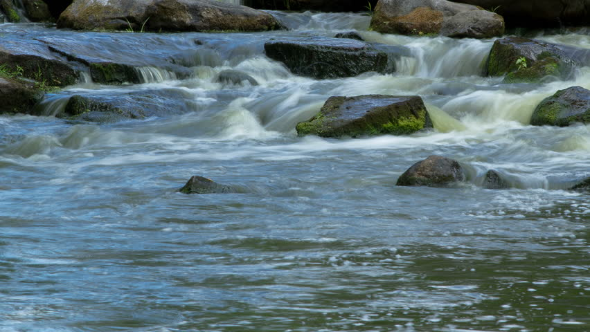 forest stream time lapse, Stream Water and Green Mossy Rocks, mountain stream time lapse 4K, Moss On The Rocks Forest Stream, Forest river, Water runs quickly through the rapids - 4K stock video clip