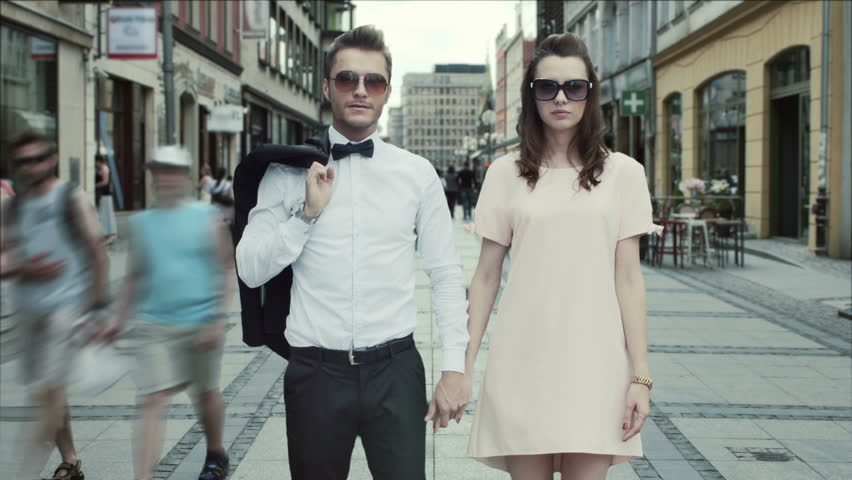 Fashionable couple in the city timelapse video