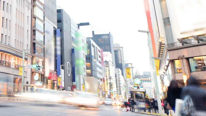 Time lapse footage of Ginza intersection from day to night in Tokyo, Japan -Close Up 3-