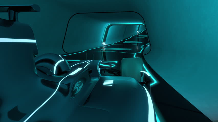 driver's POV of a formula one racecar speeding along a futuristic tunnel with neon light lines in tron look - high quality 3d animation -  loopable