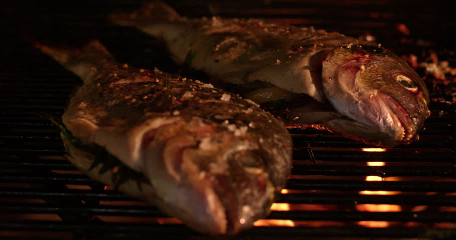 Fresh whole fish grilling tastily over the glowing coals of a night barbecue in Slow Motion