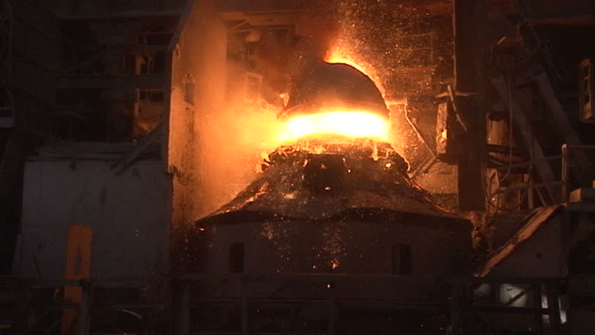 Slow Motion  Working Basic Oxygen Furnace During Purging Stock Footage Video 11085125