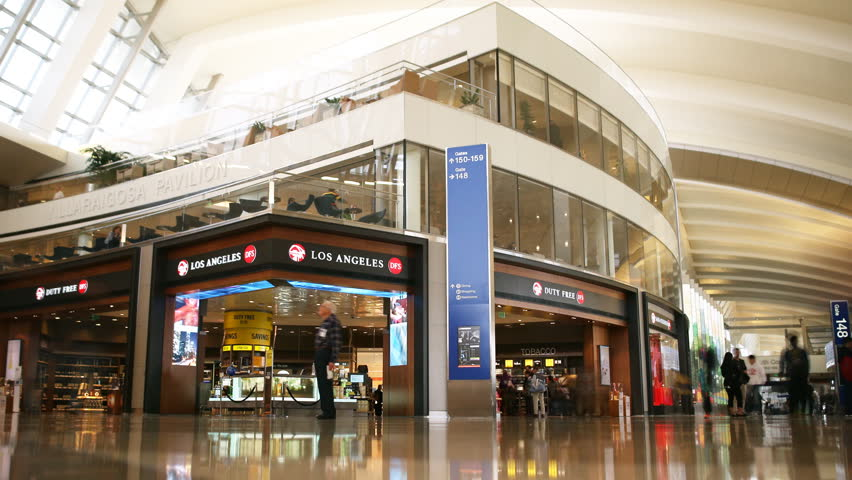 LOS ANGELES, CA -February 16th, 2015: Time lapse footage of Duty Free Store at International Departure Terminal in LAX -Close Up Shot-