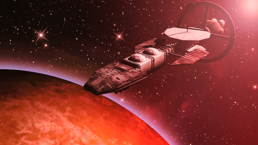 Animation of a futuristic spaceship flying over a red planet.