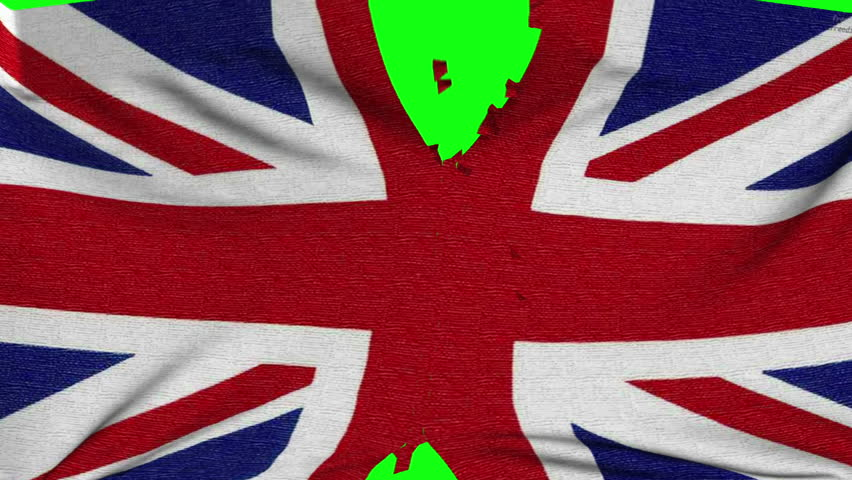 United Kingdom flag material ripped apart transition with green screen and alpha