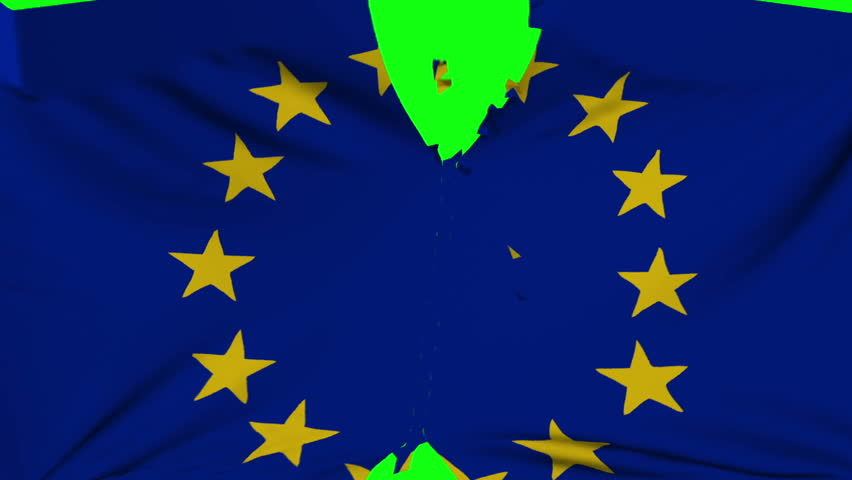 European Union flag material ripped transition with green screen and alpha