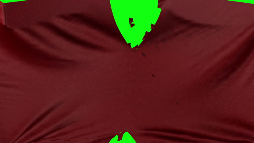 Red leather material ripped transition with green screen and alpha