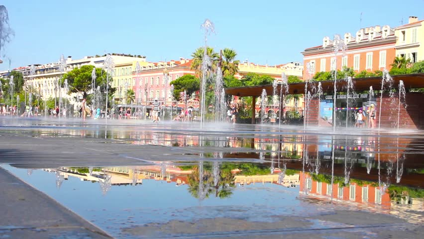 Nice france july 23 2015 people having fun in fontains on modern square of the place massena - Place massena nice ...