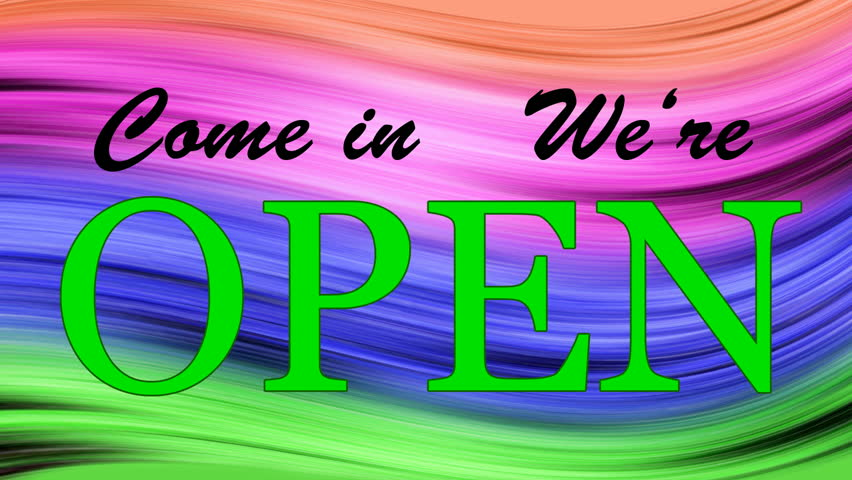 Writing OPEN  Come in on the colored background, Background changes colors in throughout the spectrum, Seamless loop,